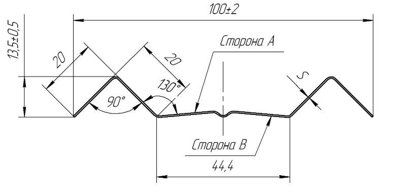 чертеж металлического штактеника м-образного