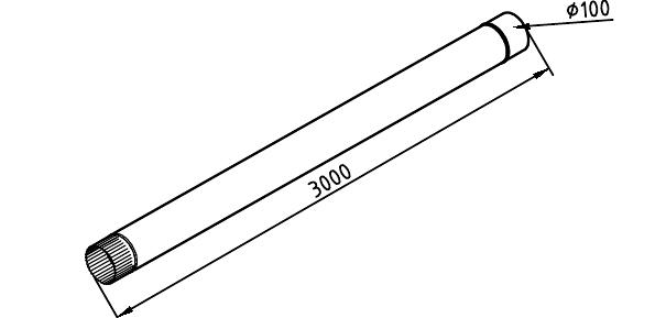 Чертеж трубы водосточной 100 мм оцинкованной 3 метра