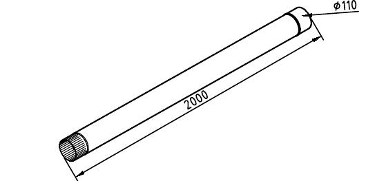 Чертеж трубы водосточной 110 мм оцинкованной 2 метра