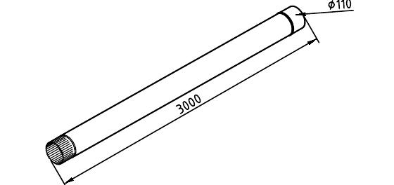 Чертеж трубы водосточной 110 мм оцинкованной 3 метра