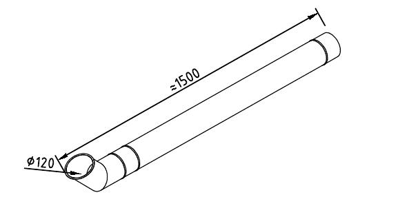 Чертеж трубы водосточной 120 мм оцинкованной 1250 мм с отливом