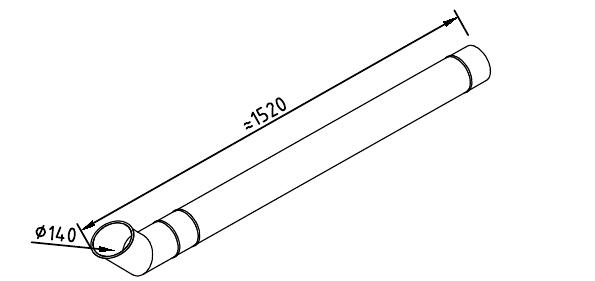 Чертеж трубы водосточной 140 мм оцинкованной 1250 + отлив