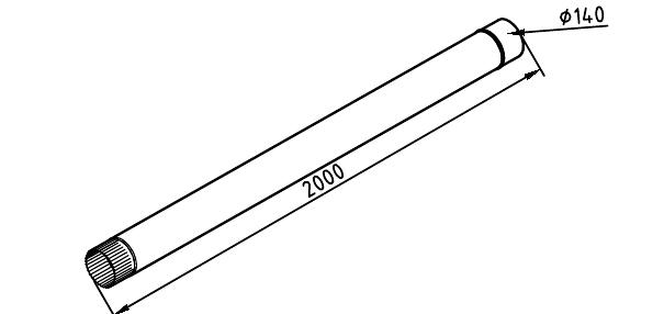Чертеж трубы водосточной 140 мм оцинкованной 2 метра