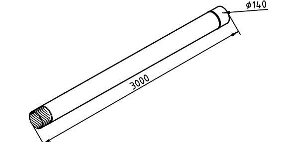 Чертеж трубы водосточной 140 мм оцинкованной 3 метра