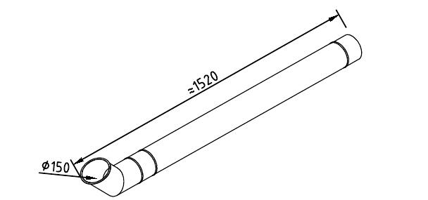Чертеж трубы водосточной 150 мм оцинкованной 1250 мм + отлив