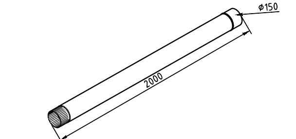 Чертеж трубы водосточной 150 мм оцинкованной 2 метра