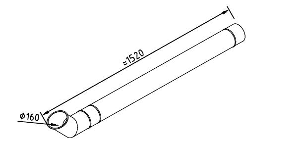 Чертеж трубы водосточной 160 мм оцинкованной 1250 мм + отлив