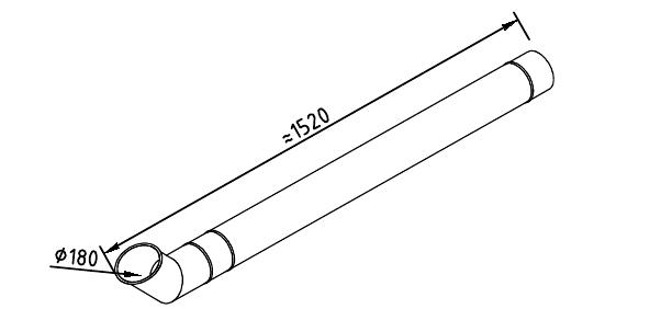 Чертеж трубы водосточной 180 мм оцинкованной 1250 мм + отлив