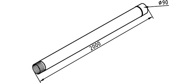 Чертеж трубы водосточной 90 мм оцинкованной 2 метра