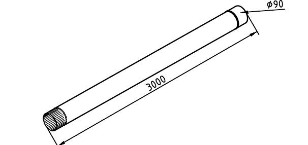 Чертеж трубы водосточной 90 мм оцинкованной 3 метра