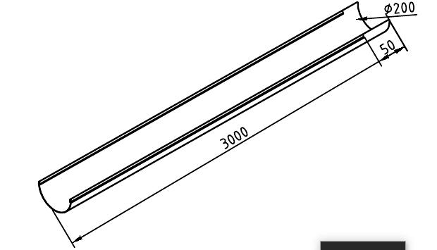 Чертеж желоб водосточный 200 мм оцинкованный 3000 мм