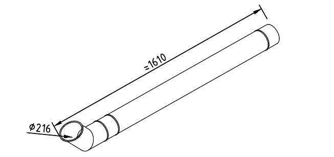 чертеж водосточной трубы 216 мм 1250 с фальцевым отливом