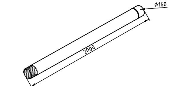 Чертеж трубы водосточной 160 мм оцинкованной 2000