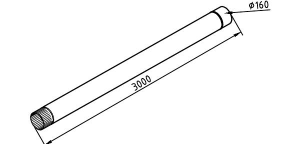 Чертеж трубы водосточной 160 мм оцинкованной 3000