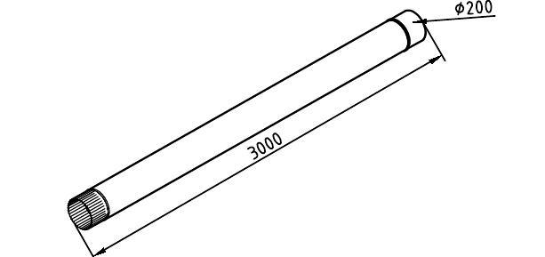 Чертеж трубы водосточной 200 мм оцинкованной 3000 мм