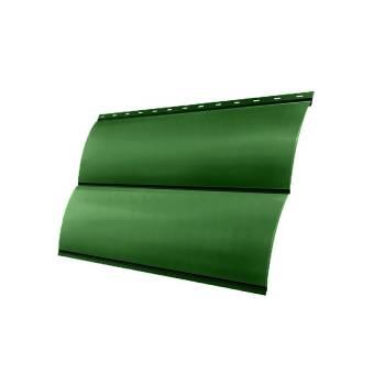 Металлосайдинг Блок-хаус 0,390 GL 0,45 PE с пленкой RAL 6002 лиственно-зеленый