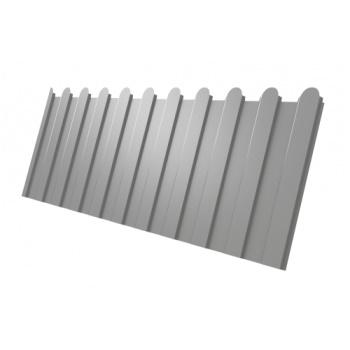 Профнастил С8 фигурный RAL 9006 бело-алюминиевый